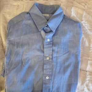 Classic blue Sulka  shirt with French cuffs
